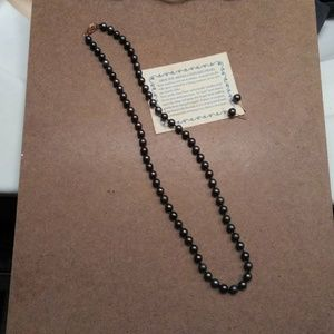 Akoya Black Pearl 20 inch Necklace and Earrings